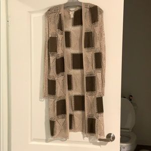Crocheted cardigan with suede panels -